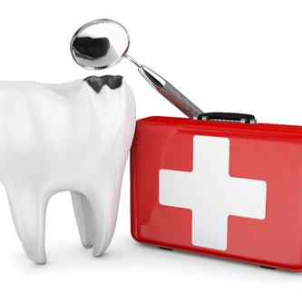 A chipped tooth standing next to a first-aid kit.