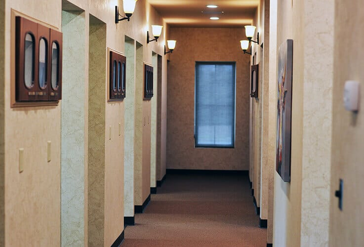 Hallway to dental treatment room