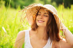 woman smiling spring