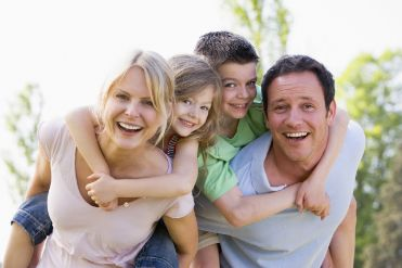 Smiling family on a sunny day